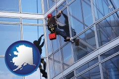 alaska a window washer, washing office building windows