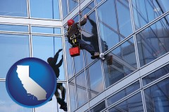 california a window washer, washing office building windows