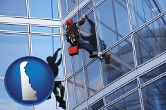 delaware a window washer, washing office building windows
