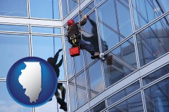 illinois map icon and a window washer, washing office building windows