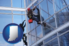 indiana a window washer, washing office building windows