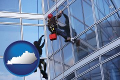 kentucky a window washer, washing office building windows