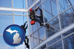 michigan a window washer, washing office building windows