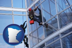 minnesota a window washer, washing office building windows