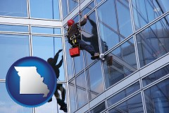 missouri a window washer, washing office building windows