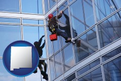 new-mexico a window washer, washing office building windows