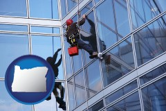 oregon a window washer, washing office building windows