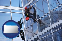 pennsylvania a window washer, washing office building windows