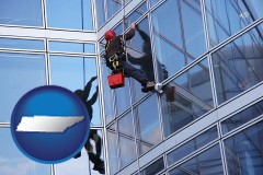 tennessee a window washer, washing office building windows