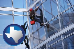 texas a window washer, washing office building windows