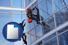 utah a window washer, washing office building windows