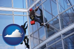 virginia a window washer, washing office building windows