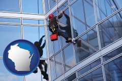 wisconsin a window washer, washing office building windows