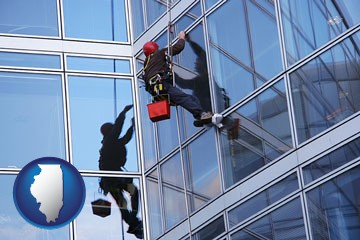 a window washer, washing office building windows - with Illinois icon